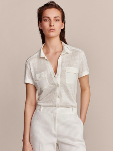 100 Percents Linen Shirt Style T Shirt With Pockets by Massimo Dutti