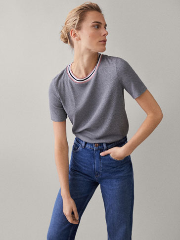 CONTRAST RIBBED T-SHIRT