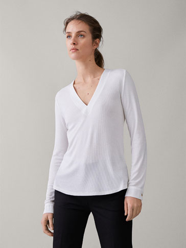 RIBBED T-SHIRT WITH SATIN COLLAR