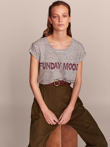 CAMISETA 100% LINO RAYAS FUNDAY MOOD