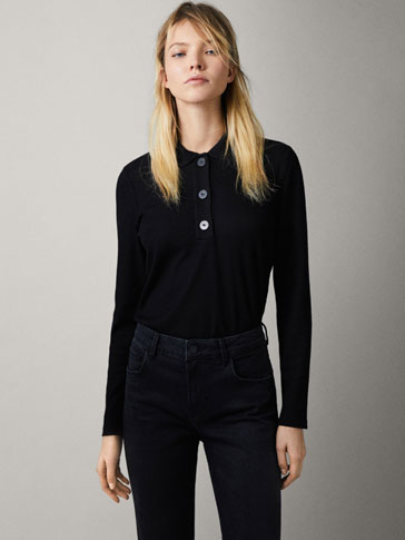 RIBBED POLO SHIRT WITH BUTTONS