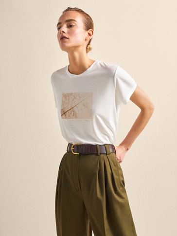 LYOCELL T-SHIRT WITH BRANCH PRINT