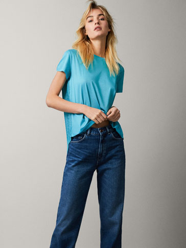 COTTON T-SHIRT WITH PLEATED BACK