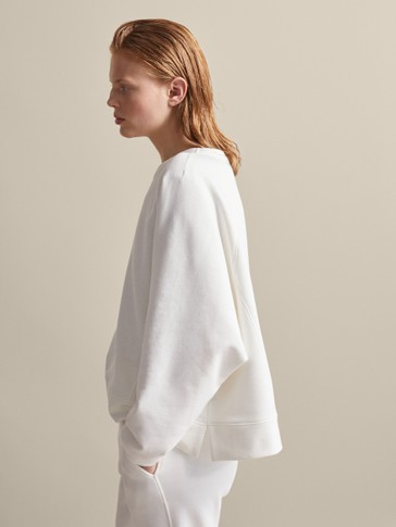 PLAIN COTTON CAPE SWEATSHIRT