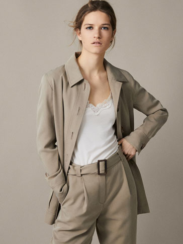 Geripptes Top Mit Spitze by Massimo Dutti