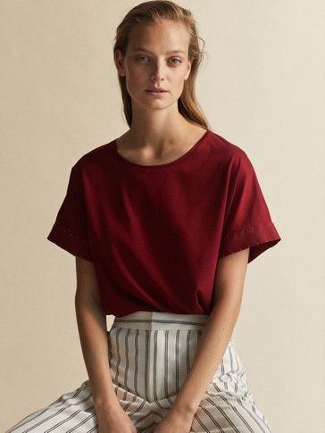 LYOCELL T-SHIRT WITH BEADING