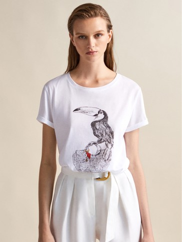 TOUCAN PRINT COTTON T-SHIRT