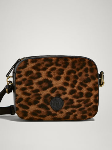 LEOPARD PRINT LEATHER CROSSBODY BAG