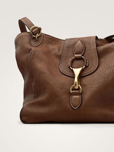 LEATHER TOTE BAG WITH METAL DETAIL