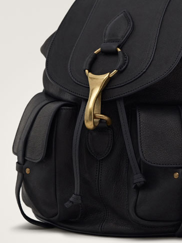 BLACK LEATHER BACKPACK WITH METAL DETAIL