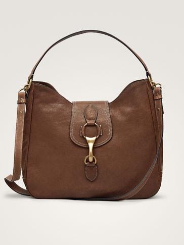 Leather Handbag With Metal Detail by Massimo Dutti