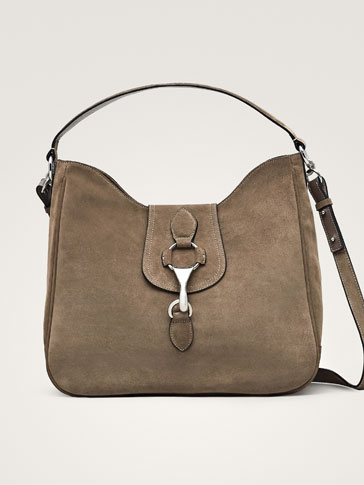 SPLIT SUEDE HANDBAG WITH METAL DETAIL
