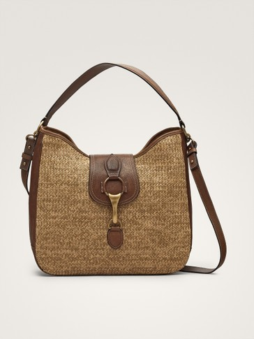 CONTRAST RAFFIA AND LEATHER HANDBAG