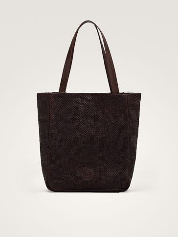 LEATHER TOTE BAG WITH PLAITED DETAIL
