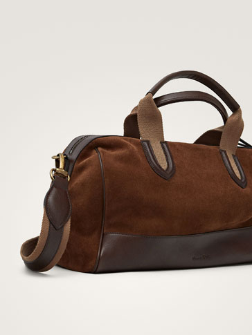 CONTRAST SPLIT SUEDE NAPPA BOWLING BAG