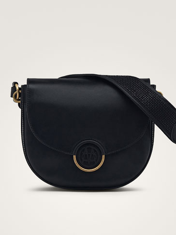 BLACK NAPPA HANDBAG WITH LOGO