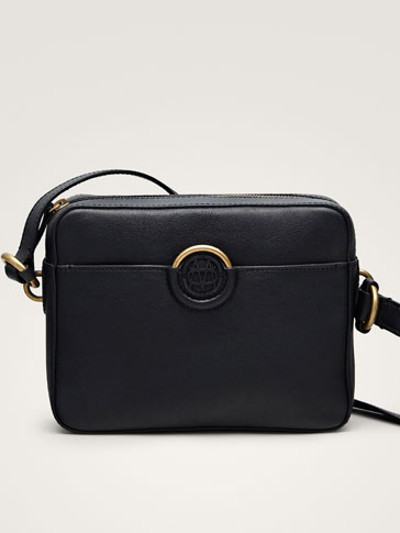 BLACK NAPPA CROSSBODY BAG WITH LOGO