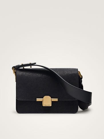 BLACK LEATHER CROSSBODY BAG WITH METAL CLASP