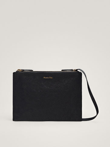 DOUBLE BLACK LEATHER CROSSBODY BAG