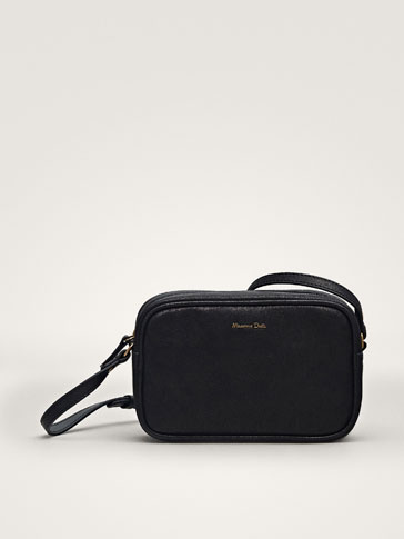 PLAIN BLACK LEATHER CROSSBODY BAG