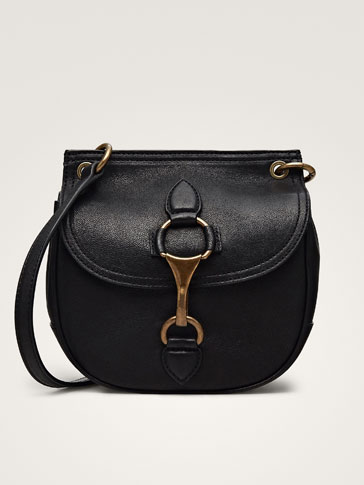 Lobster Clasp Black Leather Crossbody Bag by Massimo Dutti