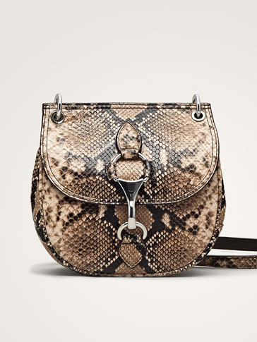 LOBSTER CLASP SNAKESKIN LEATHER CROSSBODY BAG