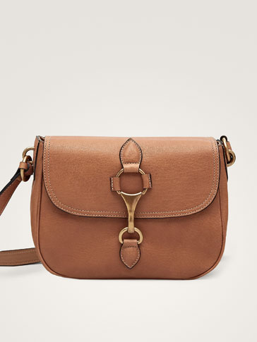 Lobster Clasp Leather Crossbody Bag by Massimo Dutti