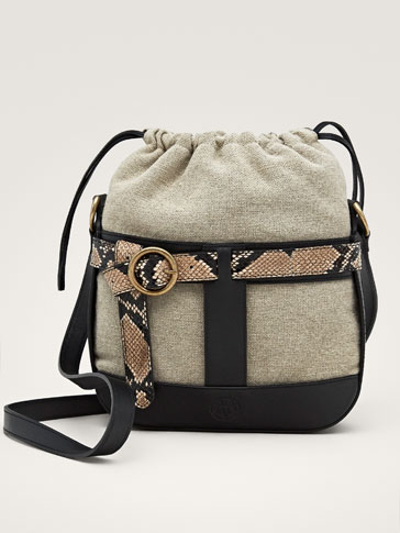 BUCKLED LEATHER BUCKET BAG WITH FAUX SNAKESKIN TRIMS