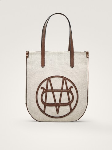 CANVAS LEATHER TOTE BAG WITH LOGO