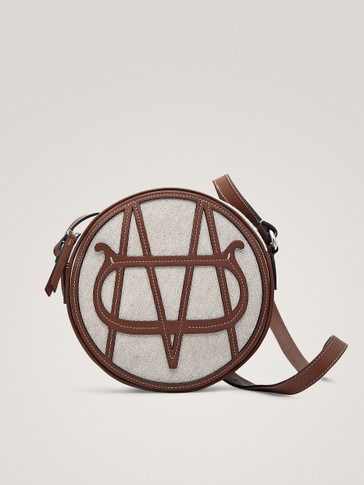 CANVAS LEATHER CROSSBODY BAG WITH LOGO