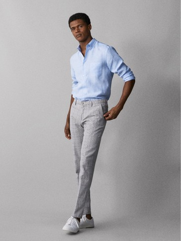 SLIM FIT CHECKED COTTON LINEN TROUSERS