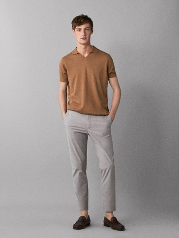 SLIM FIT DYED TEXTURED CHINOS