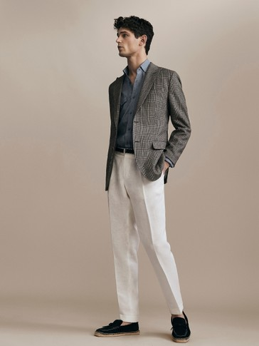 LIMITED EDITION SLIM FIT DARTED 100% LINEN TROUSERS
