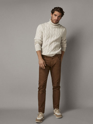 EXTRA SLIM FIT CORDUROY DENIM-EFFECT TROUSERS