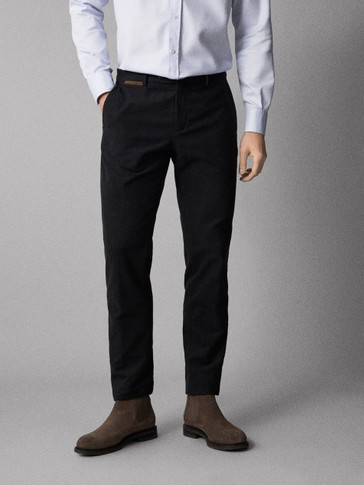 SLIM FIT NAPPED COTTON TROUSERS