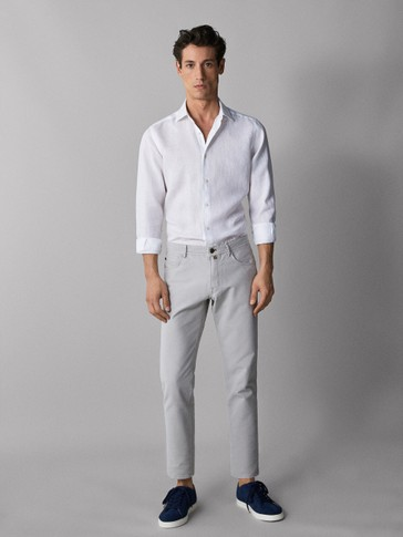 SLIM FIT FADED DENIM-LIKE TROUSERS