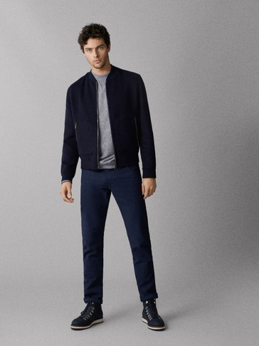 SLIM FIT TEXTURED WEAVE JEANS-STYLE TROUSERS
