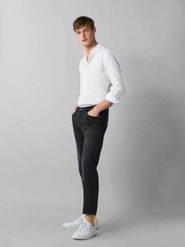 SLIM FIT JEANS WITH A SELVEDGE DETAIL