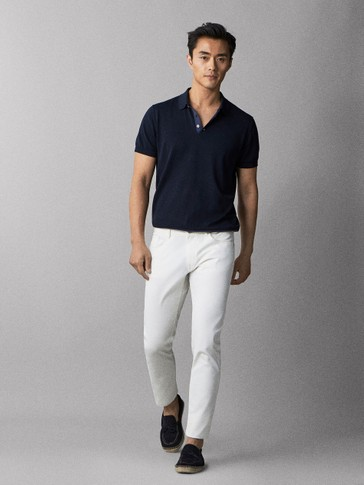 SLIM FIT TWILL DENIM-EFFECT TROUSERS