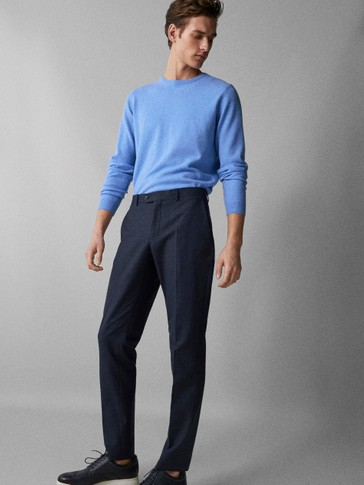 SLIM FIT CHECK WOOL COTTON TROUSERS
