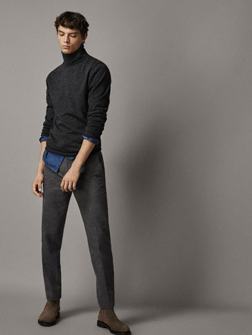 SLIM FIT CONTRAST COTTON TROUSERS WITH FLANNEL FINISH
