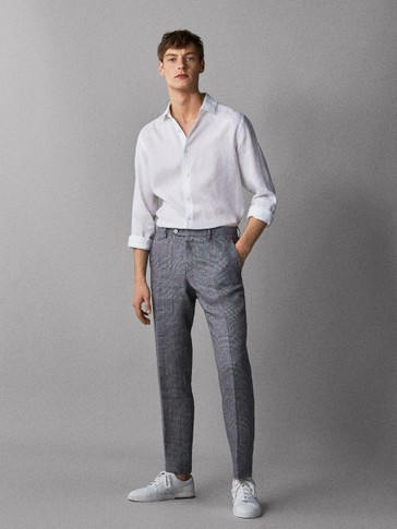 SLIM FIT CHECK 100% LINEN TROUSERS