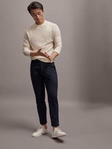 SLIM FIT LACE-TRIMMED WOOL TROUSERS