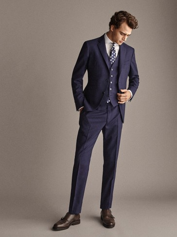 PERSONAL TAILORING CITY SLIM FIT 100% WOOL NAVY BLUE TEXTURED TROUSERS