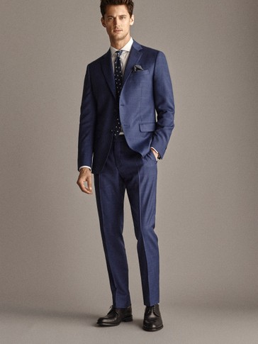 PERSONAL TAILORING SLIM FIT 100% WOOL NAVY CHECK TROUSERS