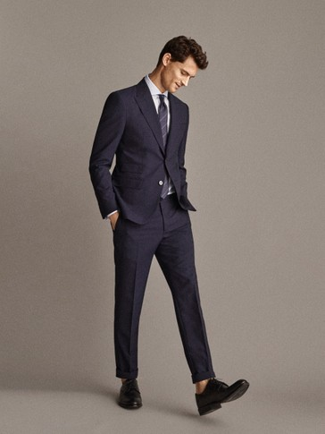PERSONAL TAILORING SLIM FIT 100% WOOL NAVY TROUSERS IN CHECK TEXTURE