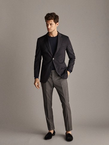 PERSONAL TAILORING SLIM FIT 100% WOOL SUBTLE CHECK TROUSERS