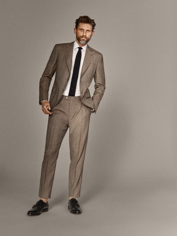 PERSONAL TAILORING SLIM FIT 100% WOOL CHECK TROUSERS