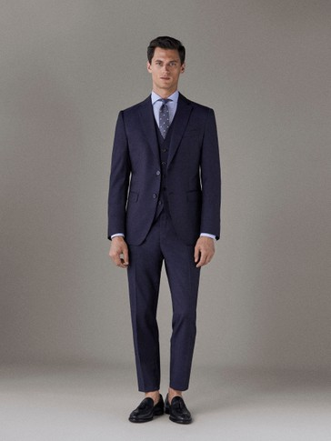 SLIM FIT WORSTED WOOL TROUSERS