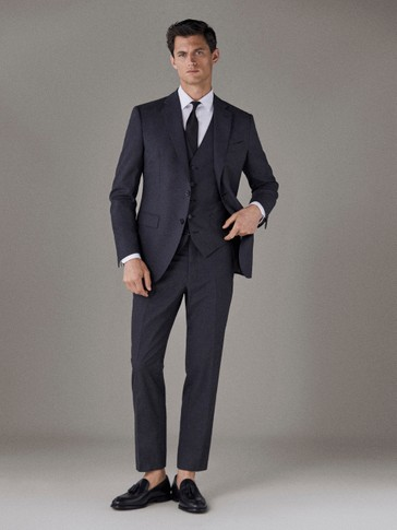 SLIM FIT PLAIN WOOL TROUSERS